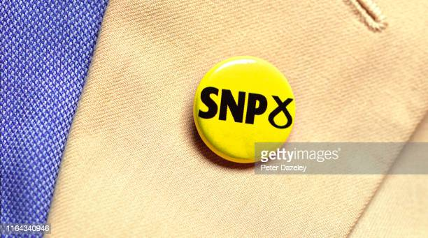 In this photo illustration a person wears a SNP Party badge photographed July 18 2019 in London