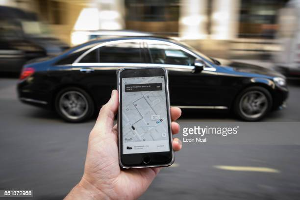 In this Photo Illustration, a phone displays the Uber ride-hailing app on September 22, 2017 in London, England. The Transport Regulator has...