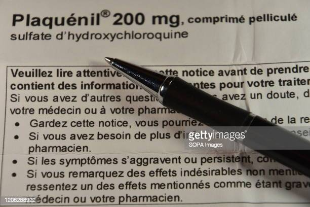 In this photo illustration a piece of paper with instructions for use of PlaquenilThe Minister of Health has authorised the use of hydroxychloroquine...
