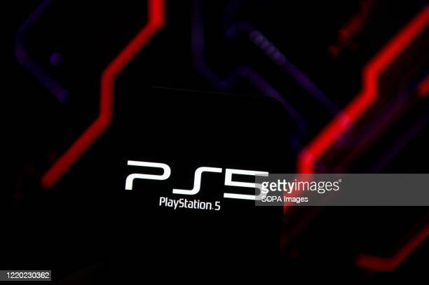 In this photo illustration a PlayStation 5 logo seen displayed on a smartphone.