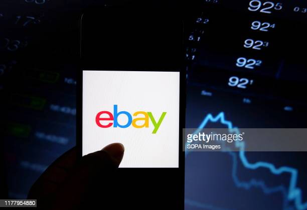 In this photo illustration a popular B2C e-commerce site eBay logo displayed on a smartphone.