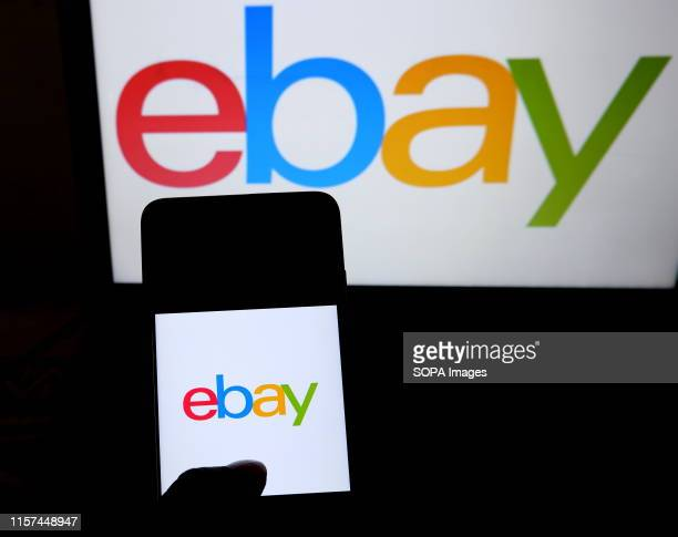 In this photo illustration a popular B2C e-commerce site eBay logo seen displayed on a smartphone.