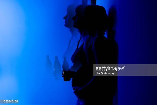 In this photo illustration a pregnant woman or girl is drinking beer on January 17, 2021 in Bonn, Germany.