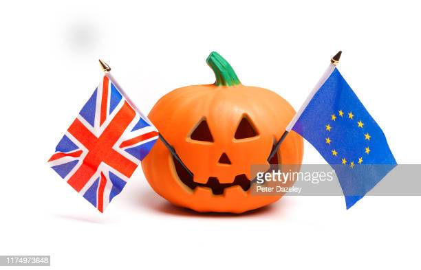 In this photo illustration a pumpkin with a Halloween face with UK and European flags shot on September 16 2019 in LondonEngland