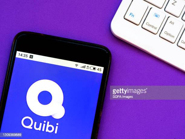 In this photo illustration a Quibi logo seen displayed on a smartphone