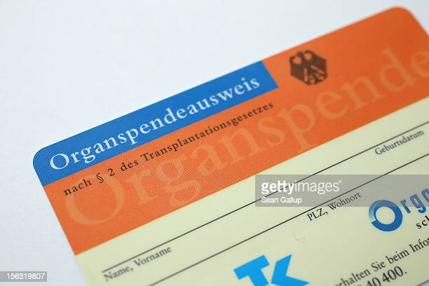In this photo illustration a real organ donor's card from public health insurer Techniker Krankenkasse is seen on November 13 2012 in Berlin Germany...