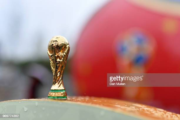 In this photo illustration a replica of the FIFA World Cup Trophy is seen ahead of the 2018 FIFA World Cup on June 8 2018 in Moscow Russia