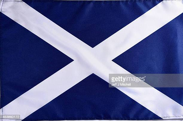 In this photo illustration a saltire flag is placed on a table on August 20 2014 in Glasgow Scotland First Minister Alex Salmond's chief economic...
