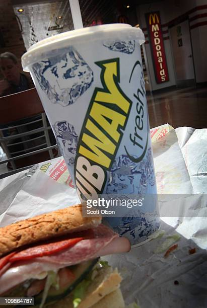 In this photo illustration a sandwich and drink is seen at a Subway restaurant on March 8 2011 in Chicago Illinois With 34225 restaurants in 95...