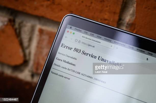 In this Photo illustration, a screen displays a holding page of the Gov.UK Government website portal on June 08, 2021 in London, England. A wide...