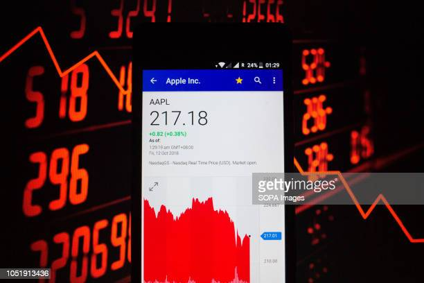 A smartphone displays the Apple Inc market value on the stock exchange via the Yahoo Finance app