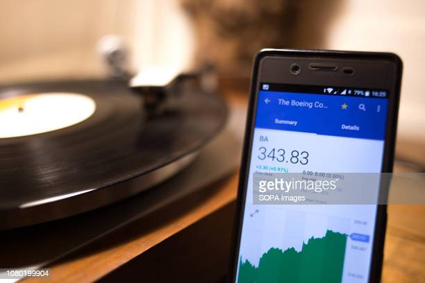 In this photo illustration a smartphone displays the Boeing Company market value on the stock exchange via the Yahoo Finance app
