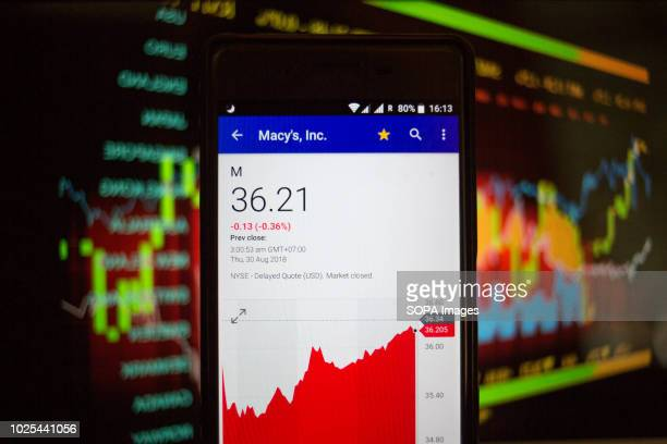 In this photo illustration a smartphone displays the Macy's Inc market value on the stock exchange via the Yahoo Finance app