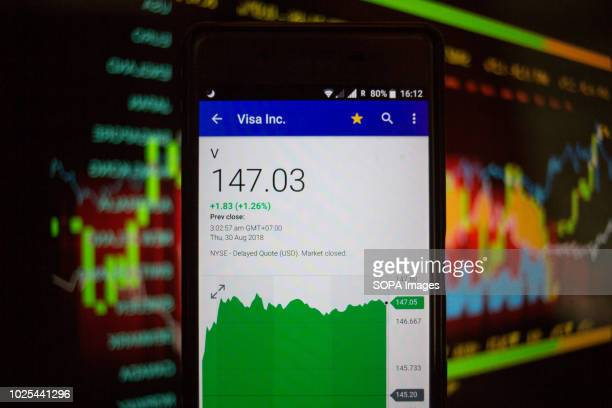 In this photo illustration a smartphone displays the Visa Inc market value on the stock exchange via the Yahoo Finance app