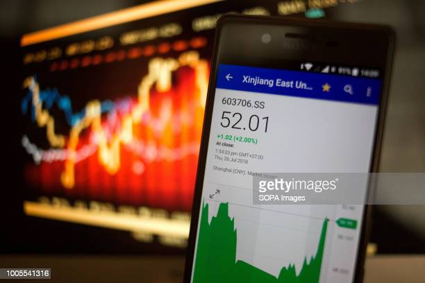 In this photo illustration, a smartphone displays the Xinjiang East Universe Gas Co., Ltd. Market value on the stock exchange via the Yahoo Finance...