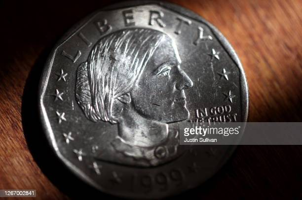 In this photo illustration, a Susan B. Anthony one dollar coin is displayed on August 18, 2020 in San Anselmo, California. On the 100th anniversary...