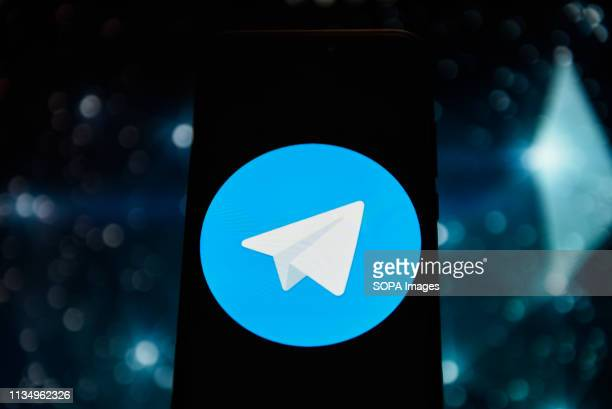 In this photo illustration a Telegram logo seen displayed on a smart phone.