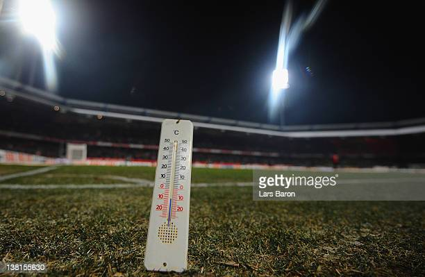 In this photo illustration a thermometer shows minus ten degree Celsius during half time break during the Bundesliga match between 1 FC Nuernberg and...