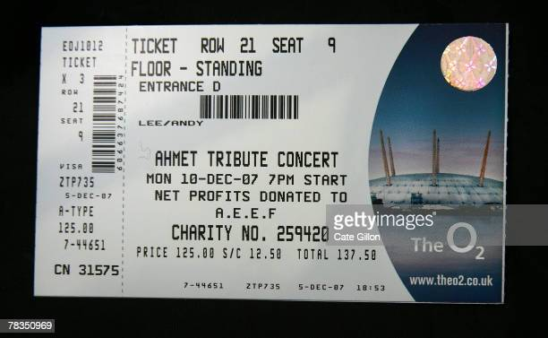 In this photo illustration a ticket fot the Led Zeppelin concert is seen on December 10, 2007 in London. Led Zeppelin have not performed in public...