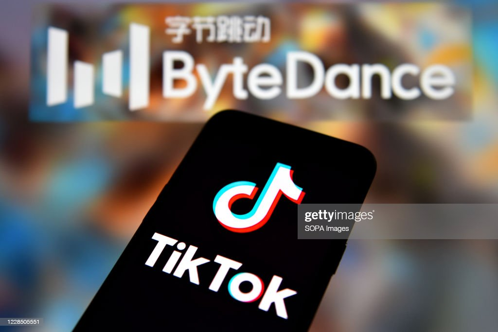 In this photo illustration a TikTok logo is seen displayed... : News Photo
