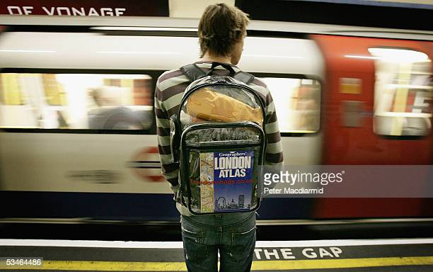 In this photo illustration a transparent backpack is carried on a London Underground platform on August 26 2005 in London England The Freedom...