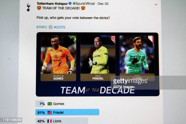 In this photo illustration a tweet on Tottenham Hotspur twitter account showing rival fans hijacked a poll to vote for Brad Friedel as their...