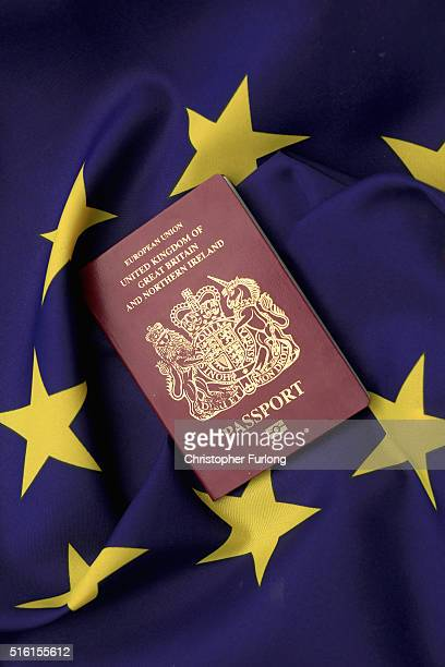 In this photo illustration a United Kingdom EU passport sits on a European Union flag on March 17 2016 in Knutsford United Kingdom The United Kingdom...