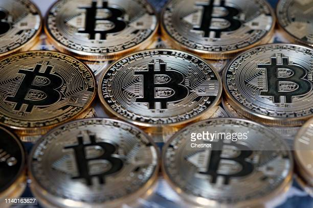 In this photo illustration a visual representation of the digital Cryptocurrency Bitcoin is displayed on April 03 2019 in Paris France Bitcoin is an...
