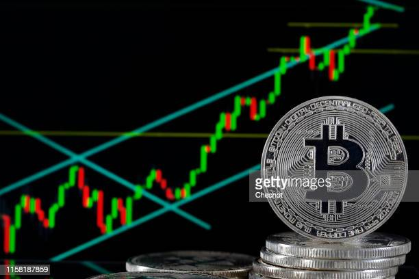 In this photo illustration, a visual representation of the digital Cryptocurrency, Bitcoin is displayed in front of the Bitcoin course's graph on...