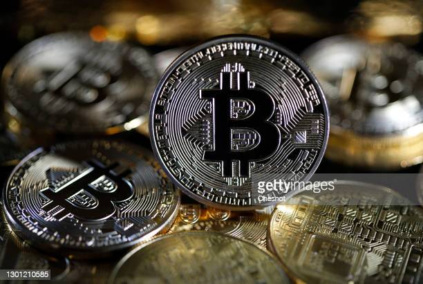In this photo illustration, a visual representation of the digital Cryptocurrency, Bitcoin is on display on February 09, 2021 in Paris, France. The...