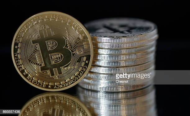 In this photo illustration a visual representation of the digital Cryptocurrency Bitcoin is displayed on December 15 2017 in Paris France...