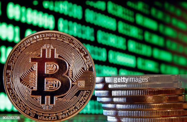 In this photo illustration a visual representation of the digital Cryptocurrency Bitcoin is displayed on January 15 2018 in Paris France Bitcoin is a...