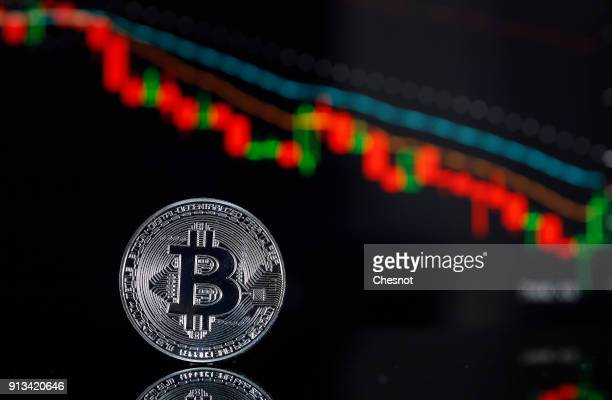 In this photo illustration a visual representation of the digital Cryptocurrency Bitcoin is displayed in front of the Bitcoin course's graph of...