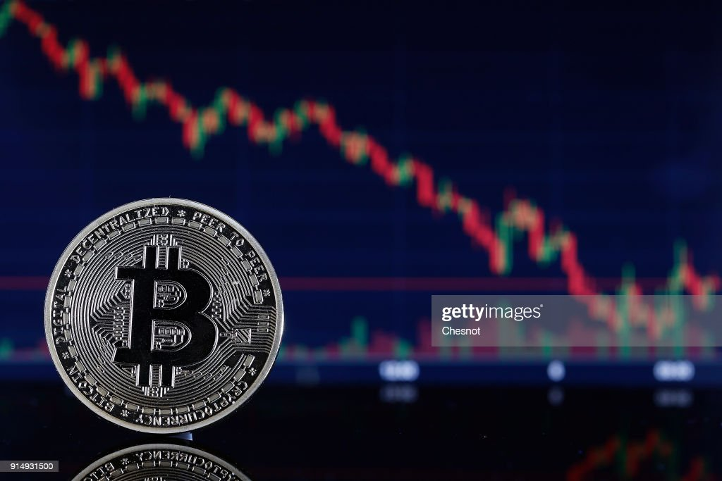 Bitcoin Cryptocurrency Value Goes Down : Illustration : News Photo