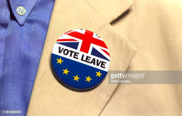 In this photo illustration a Vote Leave badge is worn shot on October 30 2019 in LondonEngland