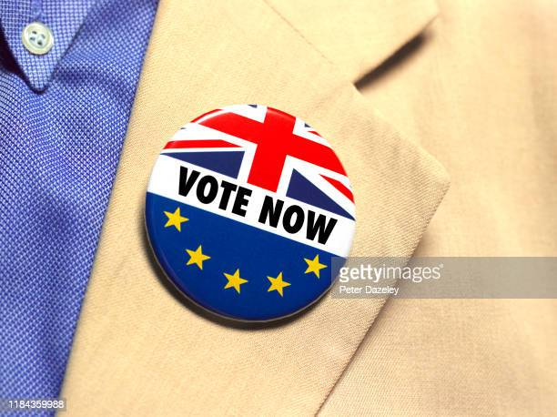 In this photo illustration a Vote Now badge is worn shot on October 30 2019 in LondonEngland