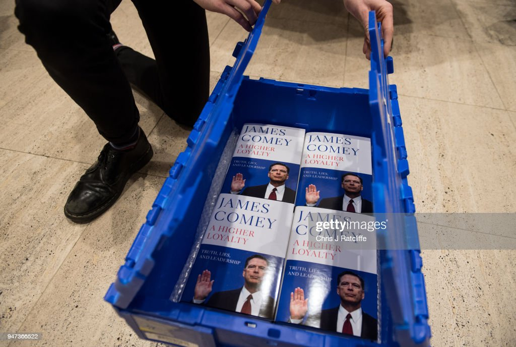 In this photo illustration a Waterstone's take copies of Former FBI Director James Comey's book out of a box as it is released in the UK at Waterstone's, Piccadilly on April 17, 2018 in London, England. The former Federal Bureau of Investigations Director was fired by US President Donald Trump in 2017 and has since written his book 'A Higher Loyalty' about everything from his childhood to his time as FBI Director and his firing by the president.