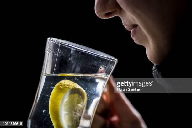 In this photo illustration a woman drinks hot lemon on February 05 2019 in Berlin Germany