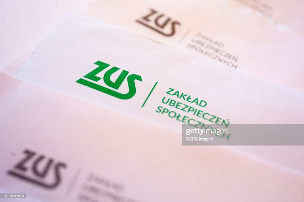 In this photo illustration a ZUS logo seen on the... : News Photo