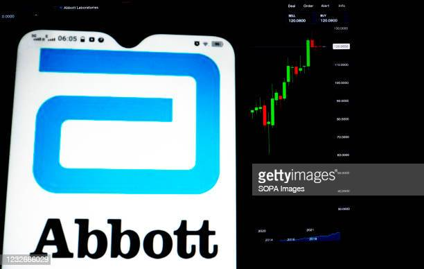 In this photo illustration, Abbott Laboratories logo seen displayed on a smartphone with the stock market information of Abbott Laboratories in the...
