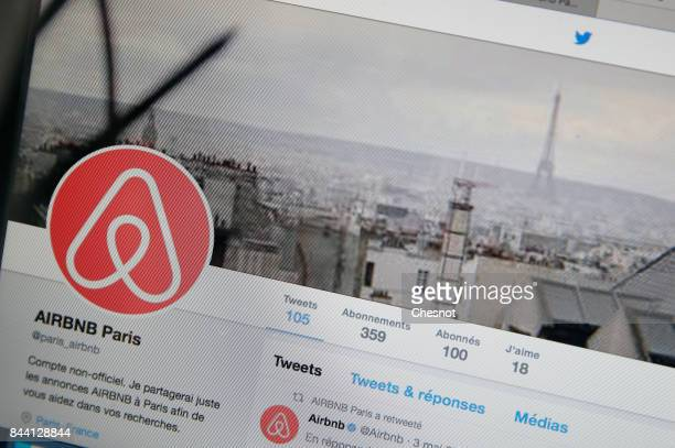 In this photo illustration Airbnb logo is displayed on a laptop screen on September 08 2017 Paris France The City of Paris wishes to reduce the...