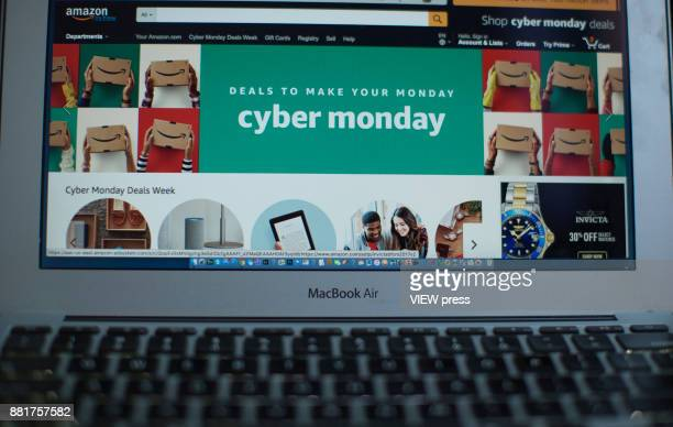 In this photo illustration, Amazon advertise Cyber Monday sales on it's company websites on November 27, 2017 in Guttenberg, New Jersey. Americans...