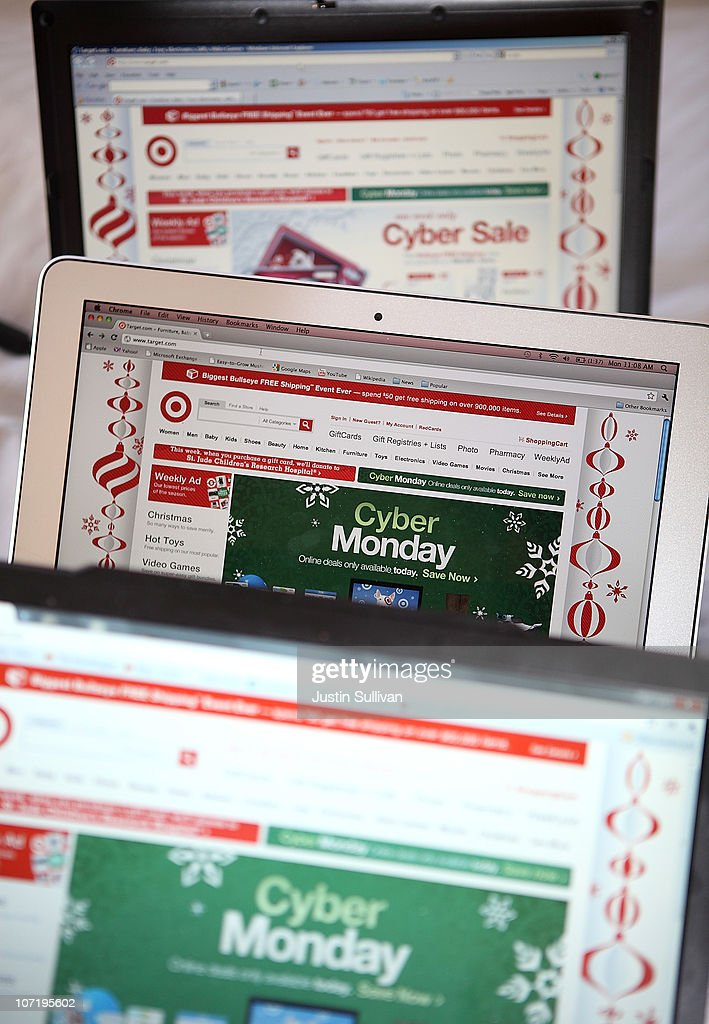 In this photo illustration, an ad seen on the Target website for a Cyber Monday sale is displayed on laptop computers on November 29, 2010 in San Anselmo, California. Following Black Friday, online retailers are rolling out deep discounts in hopes of luring people who are returning to work into making online purchases on what is now referred to as Cyber Monday.