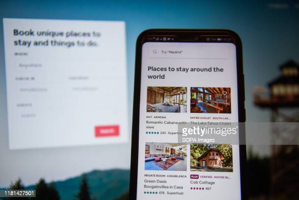 In this photo illustration an AirBnb app displayed on a smartphone.