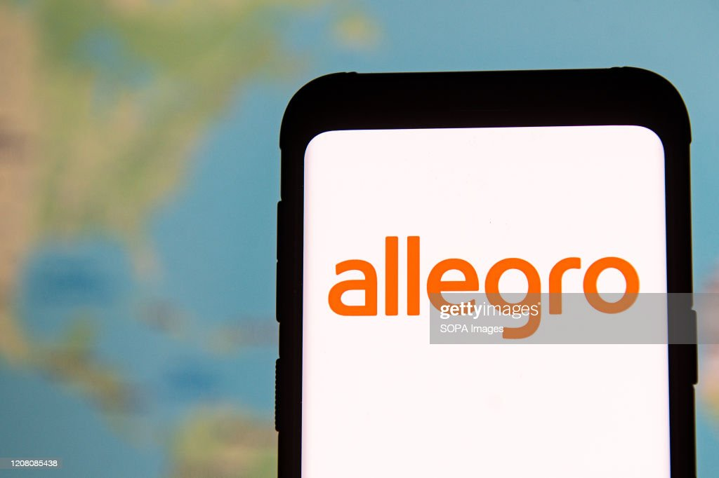 In this photo illustration an Allegro logo seen displayed on... : News Photo