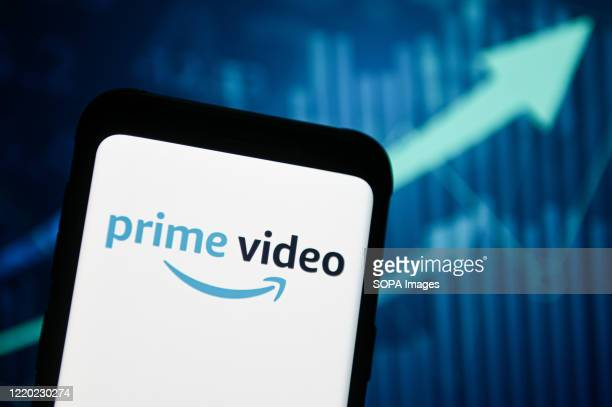 In this photo illustration an Amazon Prime Video logo seen displayed on a smartphone.