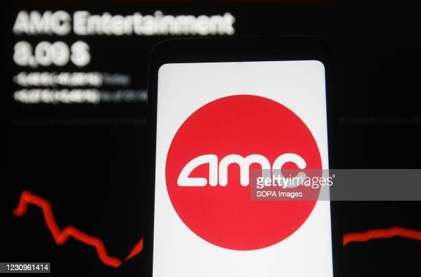 In this photo illustration, an AMC logo seen displayed on a smartphone in front of stock price and a graph.