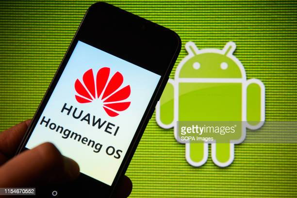 In this photo illustration an Androidapp compatible operating system Huawei Hongmeng OS logo seen displayed on a smartphone