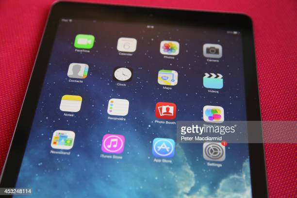 In this photo illustration an Apple iPad displays it's home screen on August 6, 2014 in London, England. IPad maker Apple is selling fewer units than...