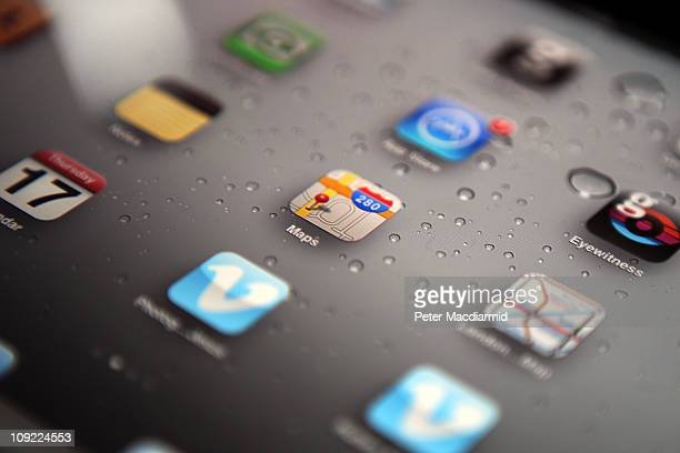 In this photo illustration an Apple ipad tablet displays apps on it's home screen on February 17 2011 in London England Apple sold two million ipads...